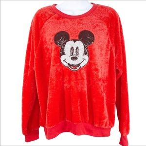 DISNEY fuzzy sequins Mickey Mouse sweatshirt NWT